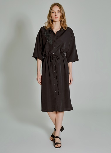 People By Fabrika Dantel Detaylı Gömlek Elbise Siyah